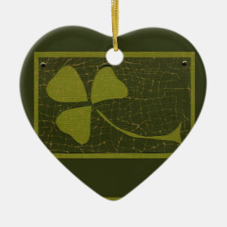 Saint Patrick's Day collage series # 6 Ceramic Heart Decoration