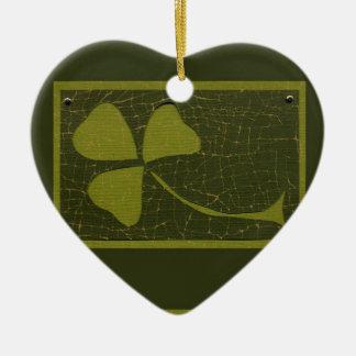 Saint Patrick's Day collage series # 6 Ceramic Heart Decoration