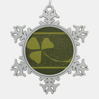 Saint Patrick's Day collage series # 6 Pewter Snowflake Decoration