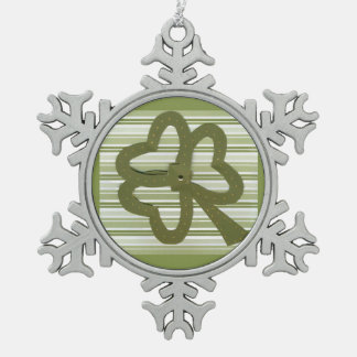 Saint Patrick's Day collage series # 7 Snowflake Pewter Christmas Ornament