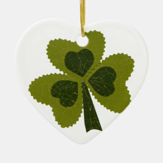 Saint Patrick's Day collage series # 8 Ceramic Heart Decoration