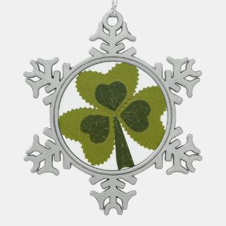 Saint Patrick's Day collage series # 8 Pewter Snowflake Decoration