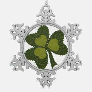 Saint Patrick's Day collage series # 9 Pewter Snowflake Decoration