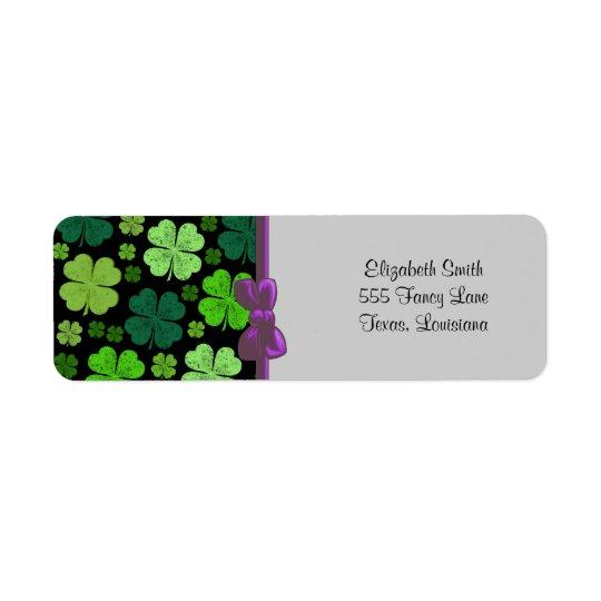 Saint Patrick's Day, Four Leafed Clovers - Green Return Address Label