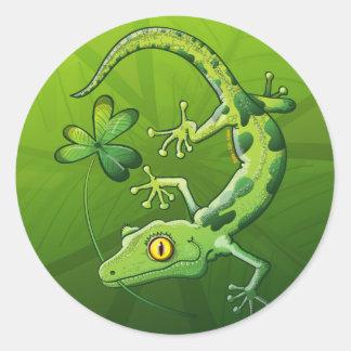 Saint Patrick's Day Gecko Classic Round Sticker