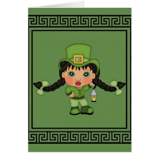 Saint Patrick's Day Girl Leprechaun Card