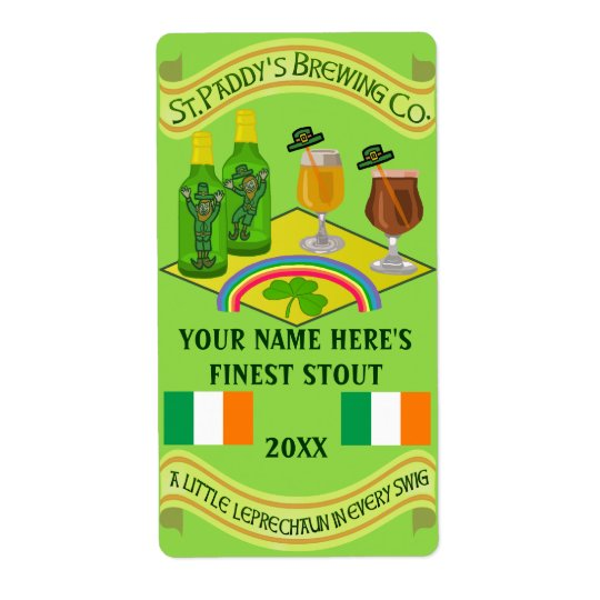 Saint Patrick's Day Home Brew Beer Bottle Label