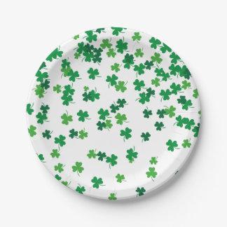 Saint Patrick's Day Irish Green Shamrock Clovers Paper Plate