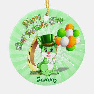 Saint Patrick's Green Bunny Cartoon Round Ceramic Decoration