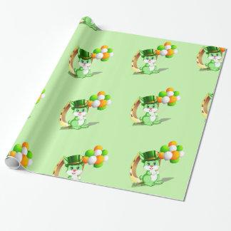 Saint Patrick's Green Bunny Cartoon Wrapping Paper