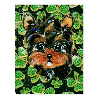 SAINT PATTY YORKIE POO POSTCARD