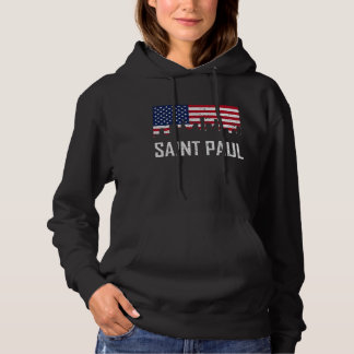 Saint Paul Minnesota Skyline American Flag Distres Hoodie