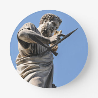 Saint Peter statue in Rome, Italy Round Clock