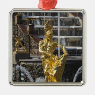 Saint Petersburg, Grand Cascade fountains 3 Silver-Colored Square Decoration