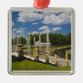 Saint Petersburg, Grand Cascade fountains 7 Silver-Colored Square Decoration
