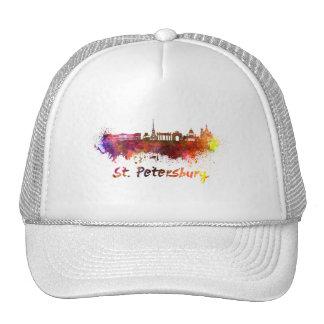 Saint Petersburg skyline in watercolor Cap