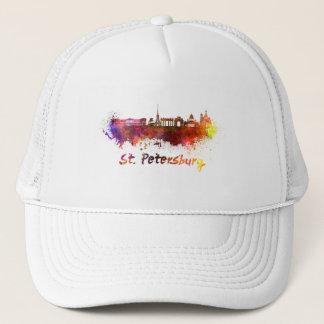 Saint Petersburg skyline in watercolor Trucker Hat