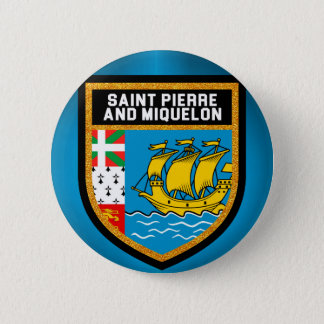 Saint Pierre And Miquelon Flag 6 Cm Round Badge