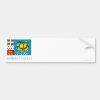 Saint-Pierre and Miquelon Flag with Name Bumper Stickers