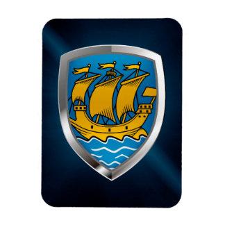 Saint Pierre and Miquelon Metallic Emblem Rectangular Photo Magnet