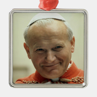 Saint Pope John Paul II Silver-Colored Square Decoration