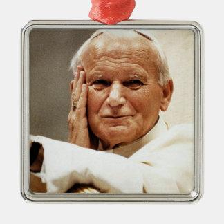 Saint Pope John Paul II Silver-Colored Square Decoration