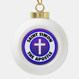 Saint Simon the Apostle Ceramic Ball Christmas Ornament