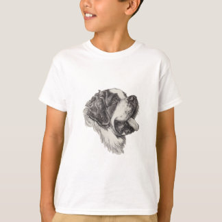 Saint St. Bernard Dog Profile Portrait Drawing T-Shirt