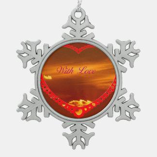 Saint Valentine's Day Pewter Snowflake Ornament