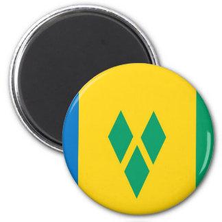 Saint Vincent and the Grenadines flag 6 Cm Round Magnet