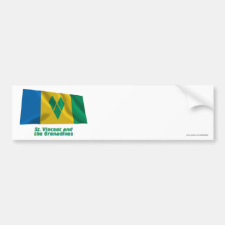 Saint Vincent Waving Flag with Name Bumper Stickers
