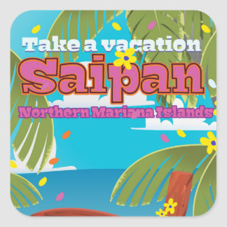Saipan island travel poster . square sticker