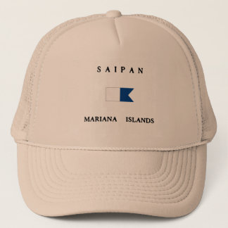Saipan Mariana Islands Alpha Dive Flag Trucker Hat