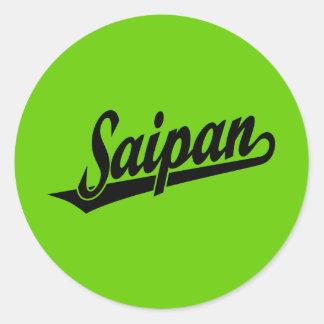 Saipan script logo in black classic round sticker