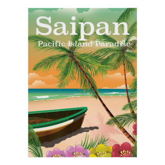 Saipan vintage style travel poster