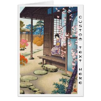 Saito Hodo Bijin By A Garden Engawa in Spring Card