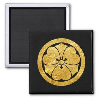 Sakai Mon Japanese samurai clan gold on black Square Magnet