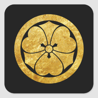 Sakai Mon Japanese samurai clan gold on black Square Sticker