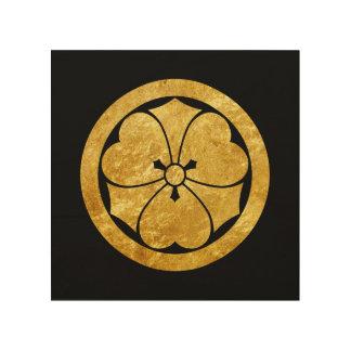 Sakai Mon Japanese samurai clan gold on black Wood Print