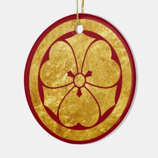 Sakai Mon Japanese samurai clan in faux gold Ceramic Ornament