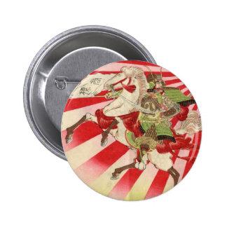Sake for a Samurai Vintage Woodblock Print 6 Cm Round Badge