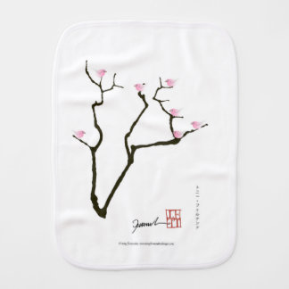 sakura and 7 pink birds 1, tony fernandes burp cloth