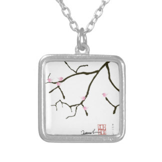 sakura and 7 pink birds 2, tony fernandes silver plated necklace