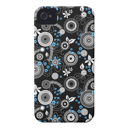 Sakura black white blue Bold case Blackberry Cases