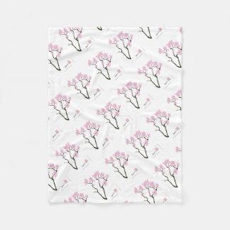 sakura bloom white eye bird, tony fernandes fleece blanket