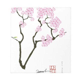 sakura bloom white eye bird, tony fernandes notepad