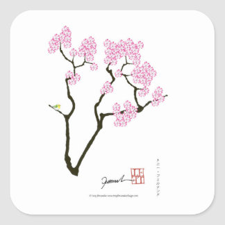 sakura bloom white eye bird, tony fernandes square sticker
