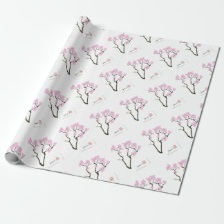 sakura bloom white eye bird, tony fernandes wrapping paper