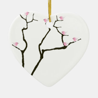 sakura blossom and pink birds, tony fernandes ceramic ornament
