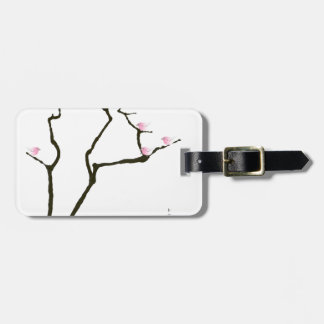 sakura blossom and pink birds, tony fernandes luggage tag